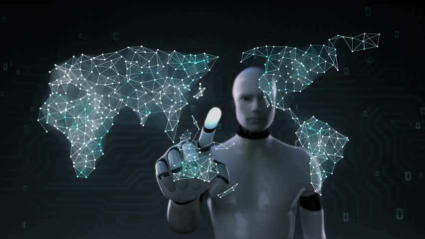 Robot, cyborg touching screen, Various Health care technology icon connect global world map, dots makes world map. internet of things.1. | Shutterstock HD Video #27742261