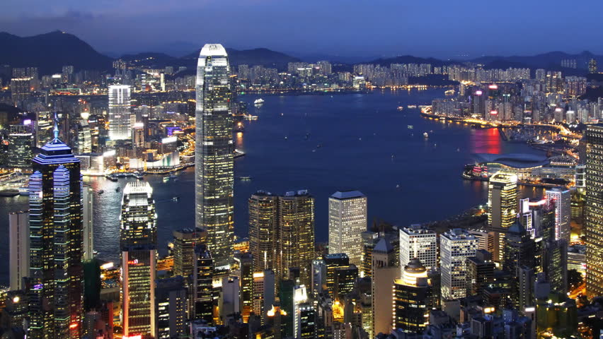 Blue Night In Hong Kong - Central District, Victoria -6161