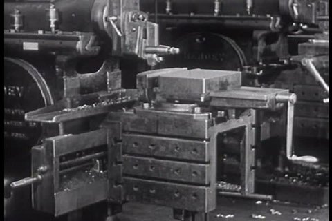 1940s: Workers arrive at a factory, use machines, punch out and get checked for tuberculosis, in 1947.