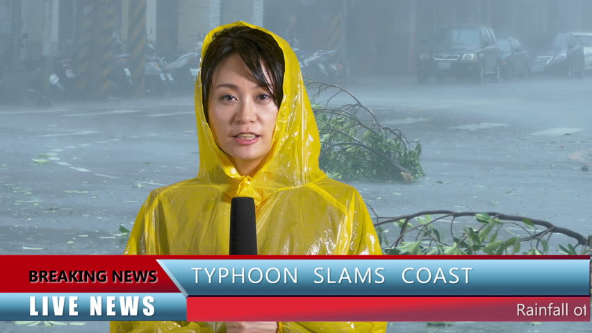 Asian American female TV weather reporter reporting on typhoon with lower thirds | Shutterstock HD Video #27838501