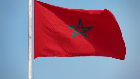 High quality video of Morocco flag in real 1080p slow motion 250fps