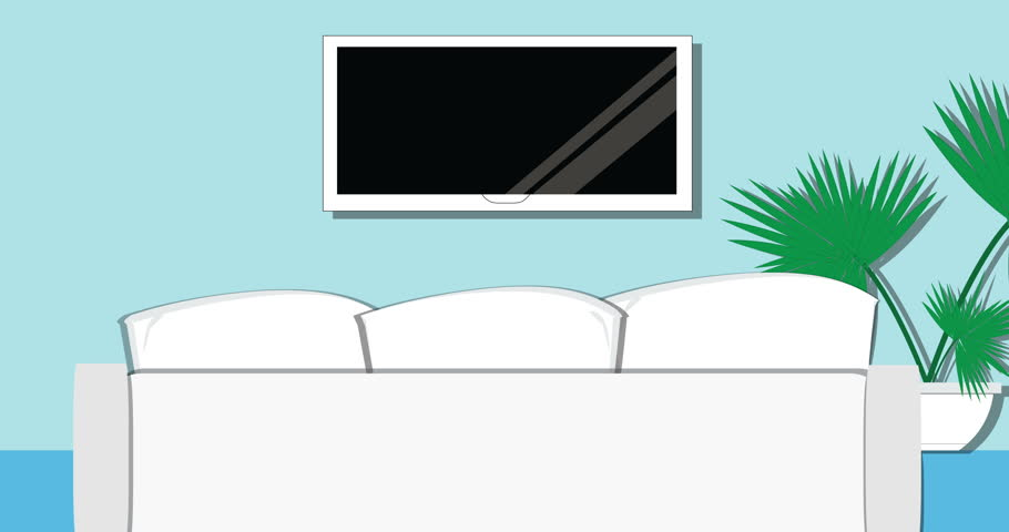 Cozy Living Room Modern Design With TV White Sofa And Plant On A Blue Background