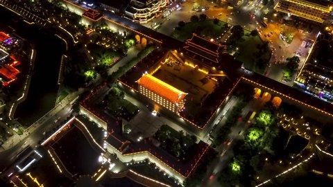 Xian China Aerial Time Lapse Night v1 Circular birdseye TL around south city wall entrance. 5/17