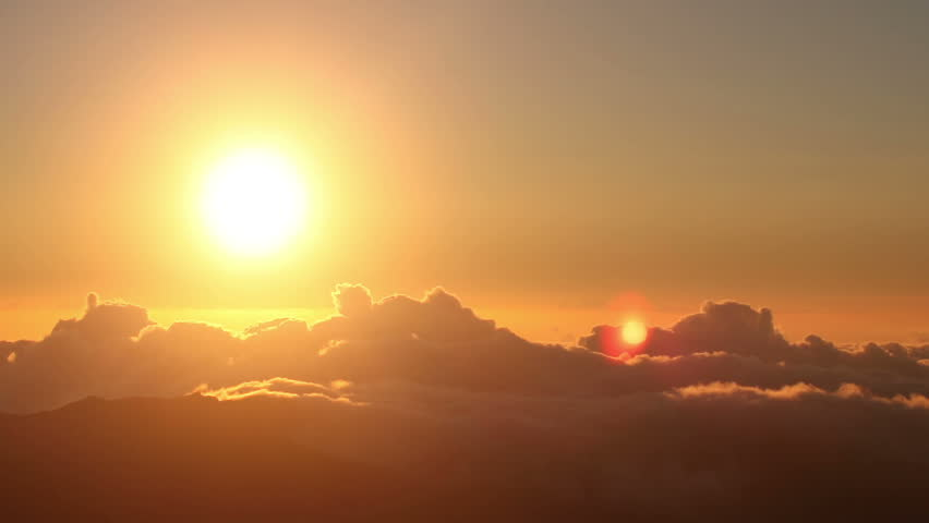 Red sun disk time lapse dawn with flowing cloud waves HDR, shot at Haleakala National Park, Hawaii | Shutterstock Video #2786665
