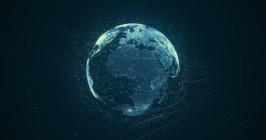 Digital data globe - abstract 3D rendering of a scientific technology data network surrounding planet earth conveying connectivity, complexity and data flood of modern digital age