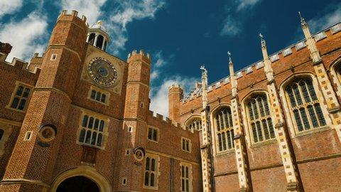 LONDON, May 2017 - Gimbal shot of a facade of Hampton Court Palace in London, England, UK bathed by beautiful sunlight