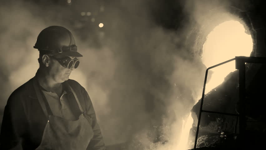 Hard work in the foundry, sepia old film motionphoto