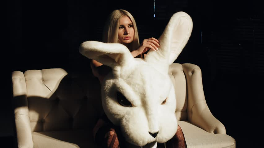 Sexy girl with a hare. Sexy girl with a rabbit.