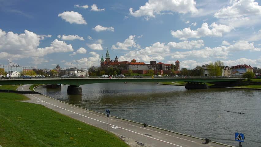 Wawel castle Kraków landmark and Vistula River beautiful skyscape  | Shutterstock HD Video #2789701