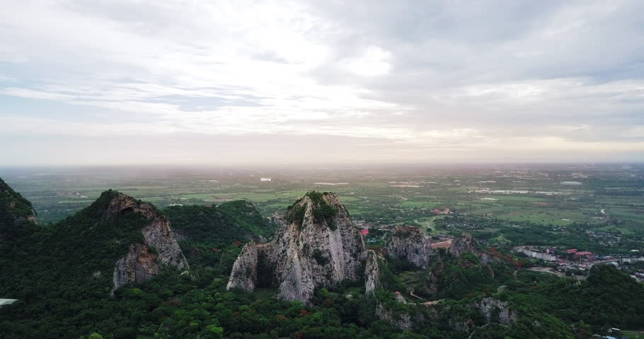 Aerial view of Mount Khao Ngoo Rock Park or Thueak Khao Ngu, Ratchaburi Ancient monuments in Ratchaburi Province, Thailand   Shutterstock HD Video #27902401