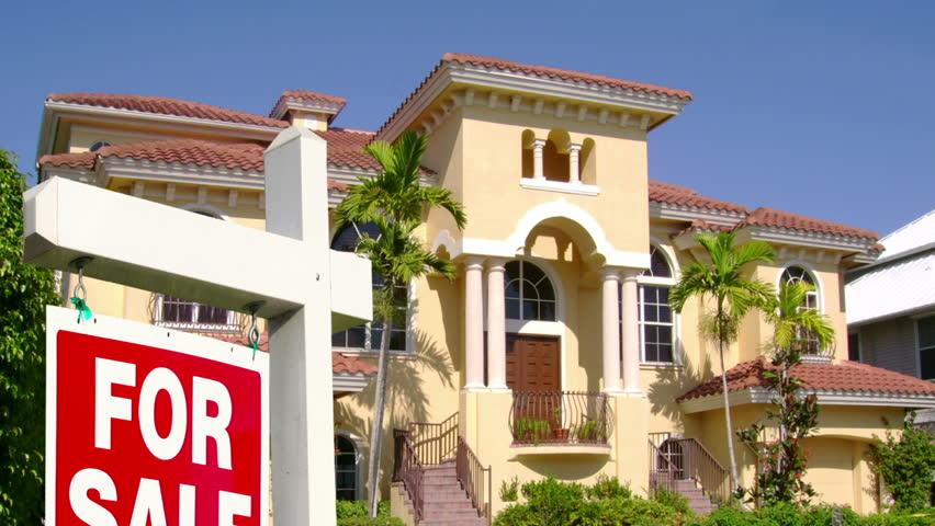 Mansion or House for Sale - Descending Crane Shot