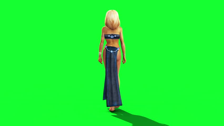 Sexy Odalisque Woman Walkcycle Back Green Screen 3D Rendering Animation
