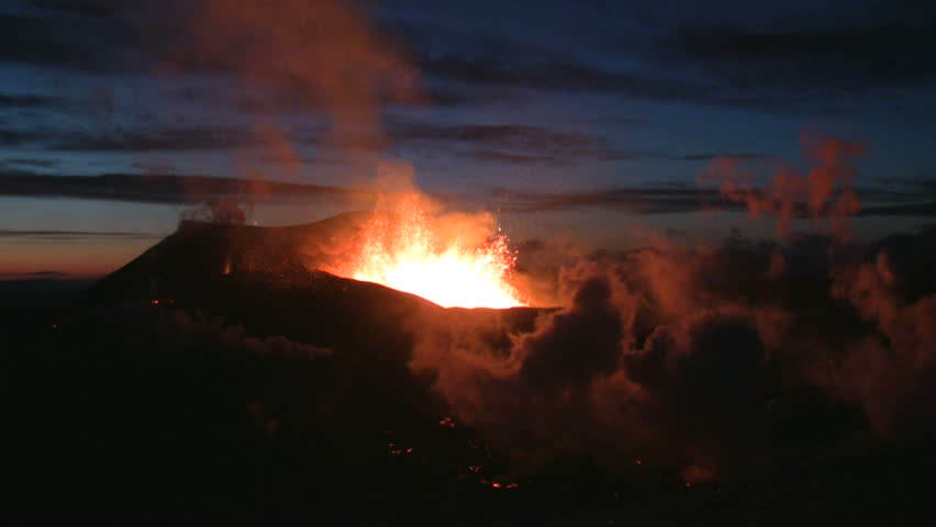 Volcanic Eruption in Iceland,  2010. Footage taken in extreme conditions only a half mile from the crater during frequent gas explosions from advancing lava. A mountain is born.