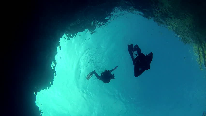 Blue diver silhouettes.    
