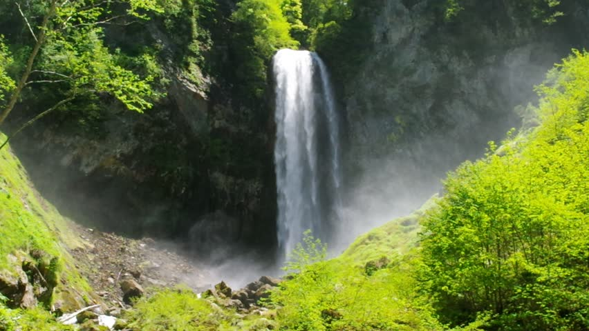 Hirayu Otaki waterfall in fresh green, Japan | Shutterstock HD Video #27981811