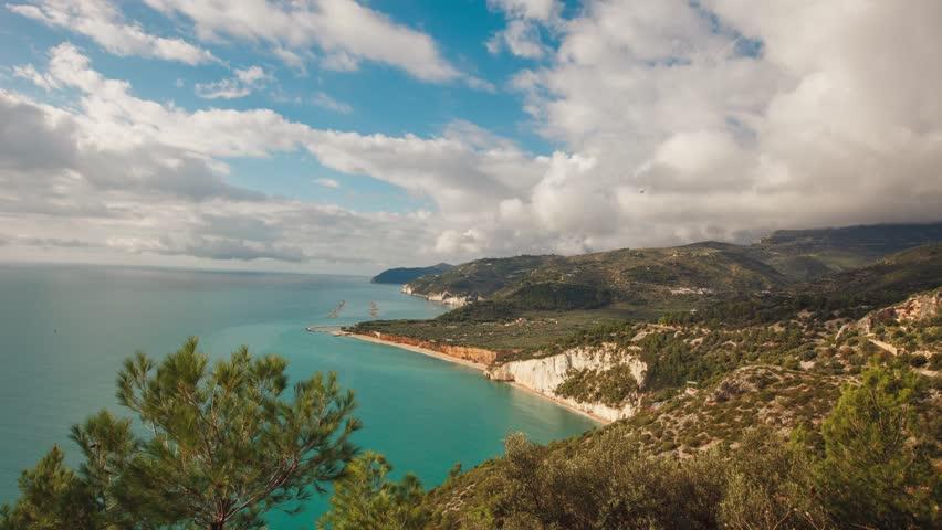 San Felice bay with  on Vieste coast, Gargano, Apulia, Italy