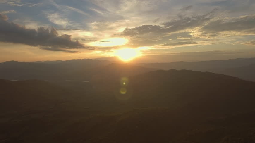 aerial shot of epic sunset in beautiful valley #27987031