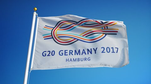GERMANY HAMBURG JULY 2017:  G20 2017 GERMANY Group of Twenty Meeting flag waving in slow motion against blue sky, editorial animation, seamlessly looped, close up, isolated on alpha channel.
