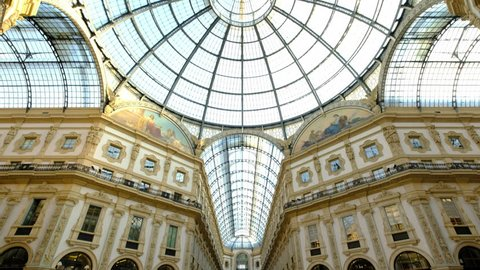 Milan Cathedral, Galleria Vittorio Emanuele/Milan, Italy - 21st June 2017: Panoramic of famous Duomo and Galleria Vittorio Emanuele II in Milan city center. Series.