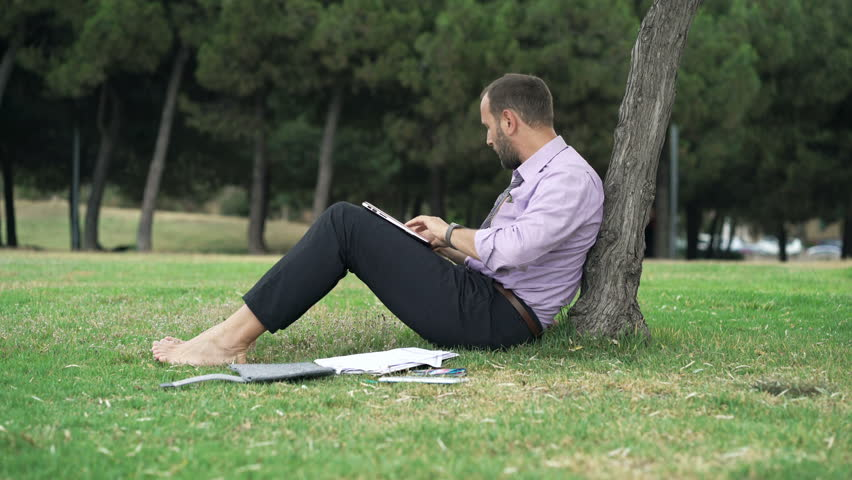 Young businessman working on laptop sitting on grass in park