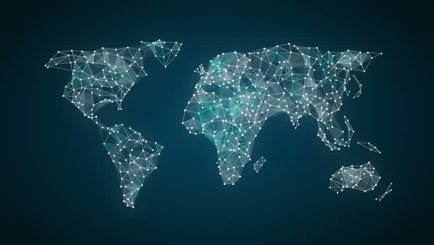 3D Animation. Dots connecting line, dots makes global world map, internet of things.2.