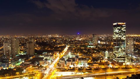 Tel Aviv Skyline From Day to Night - Time Lapse