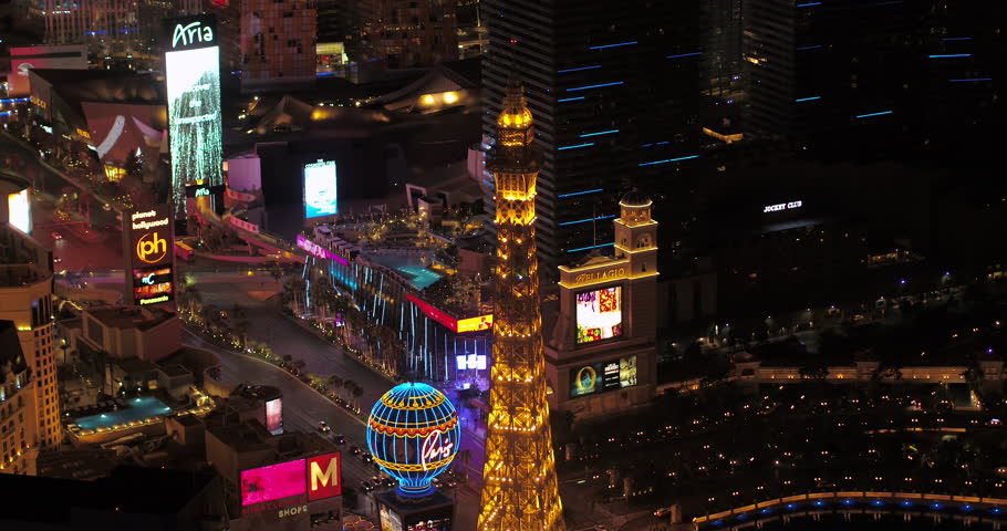 Las Vegas Aerial v46 Birdseye view flying around main strip area at night 4/17 | Shutterstock HD Video #28142644