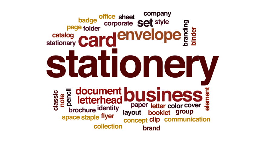 Stationery Animated Word Cloud Text Stock Footage Video 100