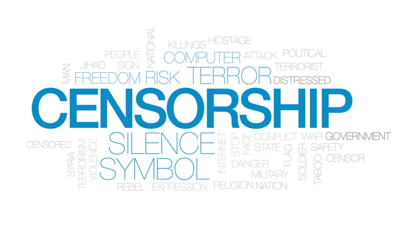 Censorship animated word cloud, text design animation. Kinetic typography.