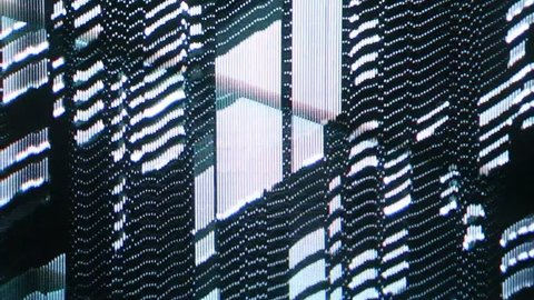 Analog glitch effects with visible CRT cathode tube pattern.