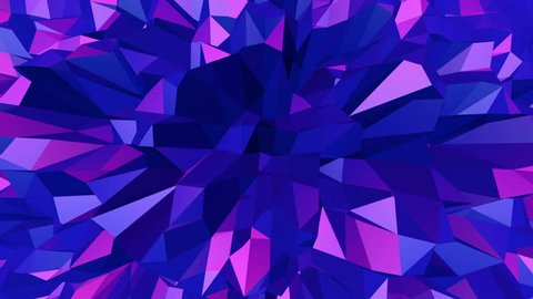 Violet abstract low poly waving surface as youth background. Violet abstract geometric vibrating environment or pulsating background in cartoon low poly popular modern stylish 3D design.