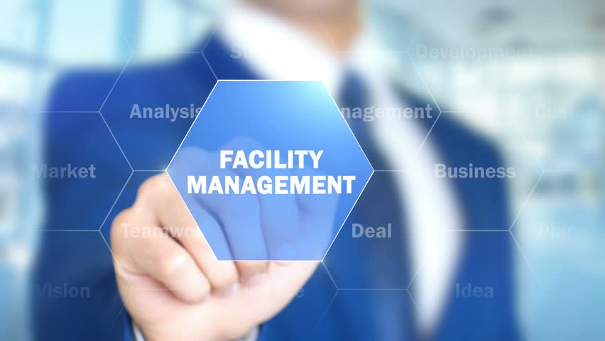Facility Management, Man Working on Holographic Interface, Visual Screen