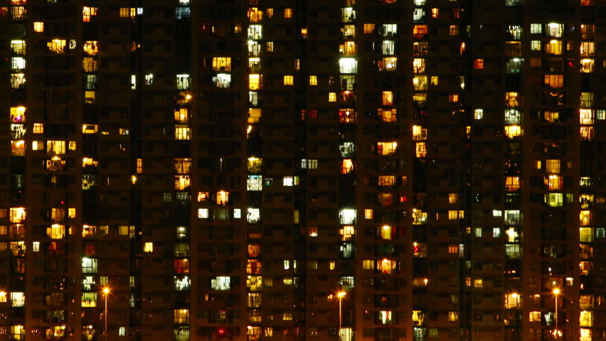 Time lapse of High-density apartment block at night, Hong Kong. | Shutterstock HD Video #2824714