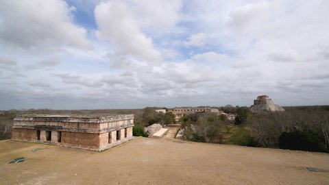 Cityscape view of ancient Mayans ruins of Uxmal near Valladolid, Mexico