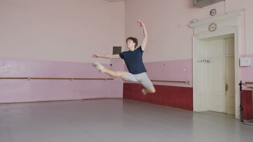 ballet dancer, male in flight, execution of movements, a dancer in the work, a healthy lifestyle,