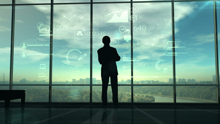 Silhouette of man and corporate infographics | Shutterstock Video #28264771