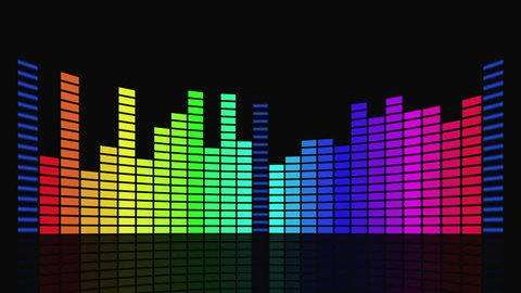 Twenty-four segmented and slightly curved color bars change height randomly, mirrored by a dark floor. Illustration of a classic-style graphic sound equalizer. Motion graphic.
