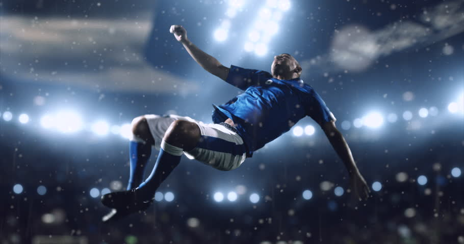 4k footage of a soccer player in dramatic play during a soccer game on a professional outdoor soccer stadium. Players wear unbranded uniform. Stadium and crowd are made in 3D. | Shutterstock HD Video #28283551