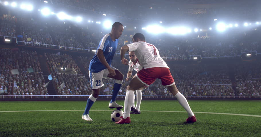 Soccer player makes a dramatic play during game on professional outdoor soccer stadium. All players are wearing unbranded soccer uniform. Stadium and crowd are made in 3D. | Shutterstock HD Video #28284181
