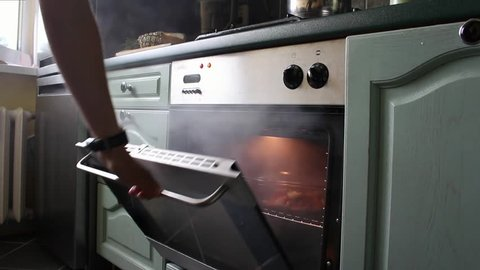 Opening Oven Releasing Smoke From Burnt Meal