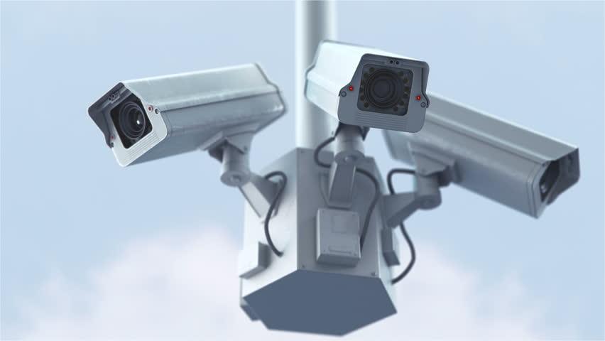 Security cameras against blue sky in 4K | Shutterstock HD Video #28318891