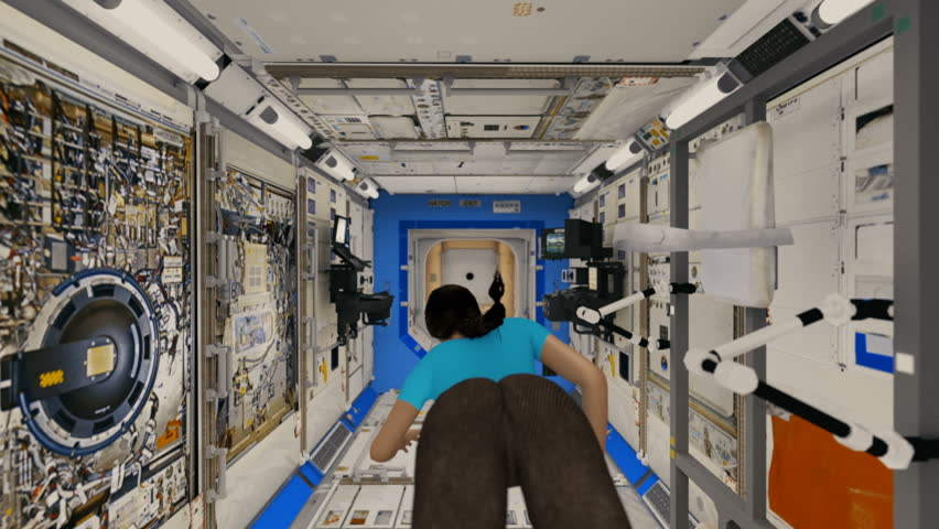 Sexy Astronaut Floating Aboard the Space Station.  Realistic high-quality 3d animation