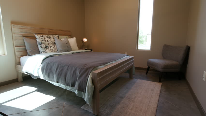 Simple Bedroom With Single Bed santiago, chile - interior bedroom - two single beds stand on