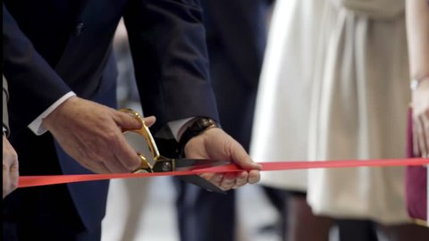 Close up Ribbon cutting at the Grand opening