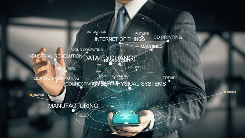 Businessman with Industry 4.0 hologram concept   Shutterstock HD Video #28336222