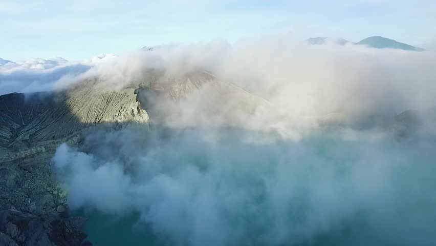 Flying on a Drone Above the Crater of the Ijen Volcano With an Acid Lake, Java, Indonesia #28339981