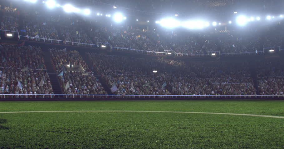 4k footage of a soccer player in dramatic play during a soccer game on a professional outdoor soccer stadium. Players wear unbranded uniform. Stadium and crowd are made in 3D.  | Shutterstock HD Video #28349401