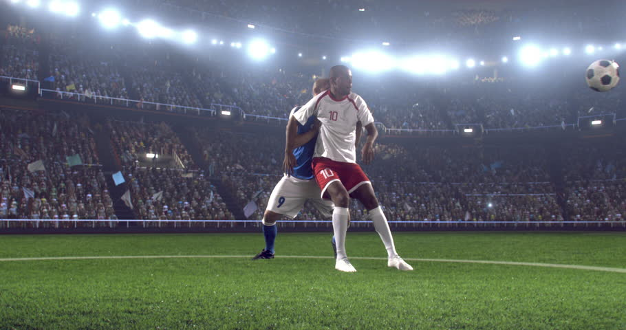 4k footage of a soccer player in dramatic play during a soccer game on a professional outdoor soccer stadium. Players wear unbranded uniform. Stadium and crowd are made in 3D.    Shutterstock HD Video #28349851