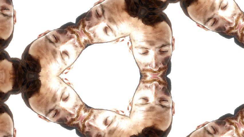 Kaleidoscope view of a male madman tied in a straitjacket doing weird faces. Close-up shot. White background.