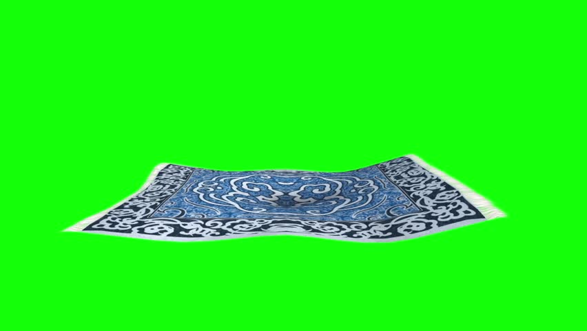 Flying Carpet Side Green Screen 3D Rendering Animation
